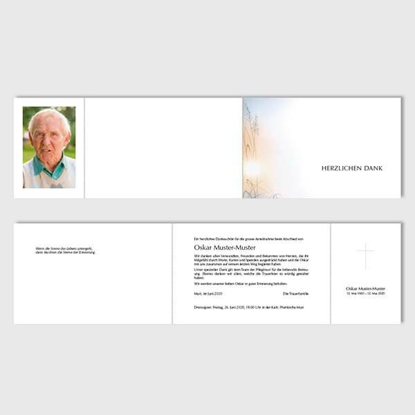 Muster Danksagungskarte mit Klappe Sujet Abendlicht