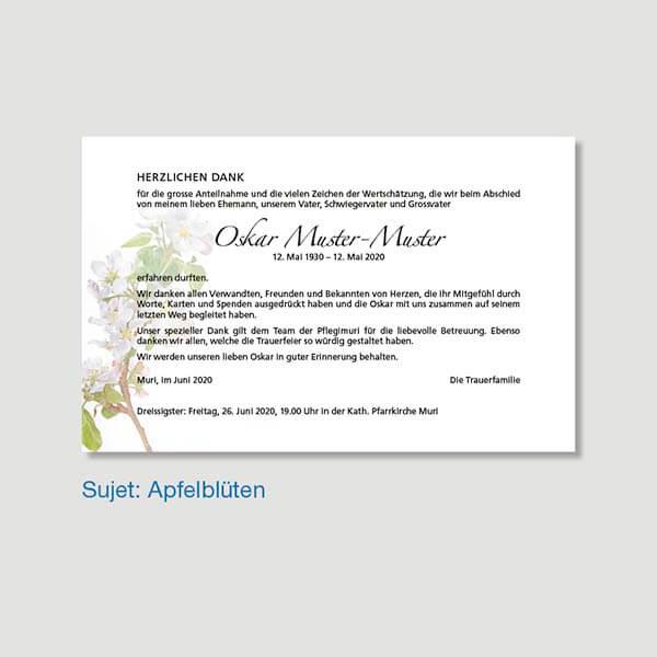 Muster Danksagungskarte Sujet Apfelblüten