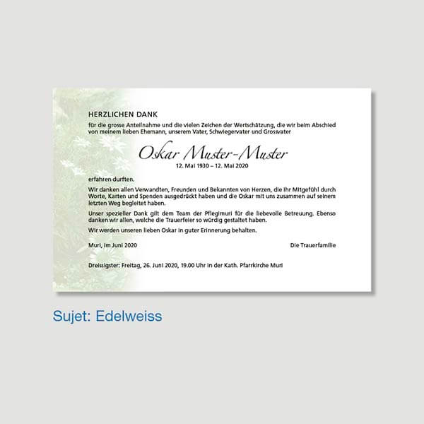 Muster Danksagungskarte Sujet Edelweiss