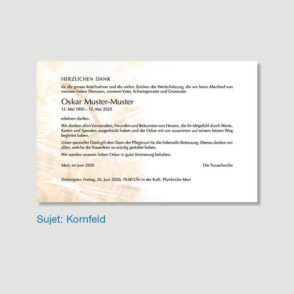 Muster Danksagungskarte Sujet Kornfeld