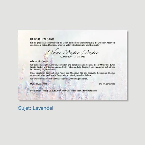 Muster Danksagungskarte Sujet Lavendel