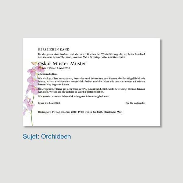 Muster Danksagungskarte Sujet Orchideen