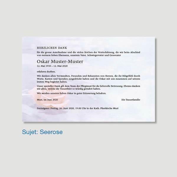 Muster Danksagungskarte Sujet Seerose
