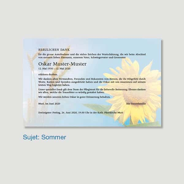 Muster Danksagungskarte Sujet Sommer