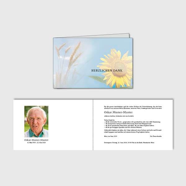 Muster Danksagungskarte 4-seitig Sujet Sommer