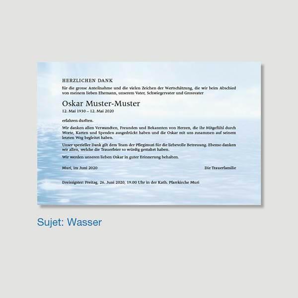 Muster Danksagungskarte Sujet Wasser