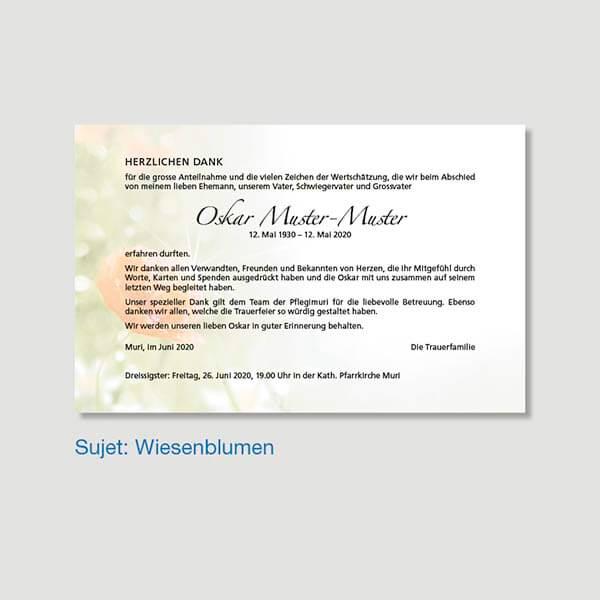 Muster Danksagungskarte Sujet Wiesenblumen