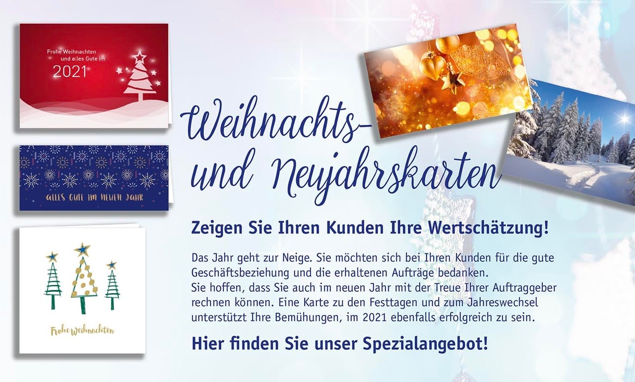 Jeztt Weihnachtskarten und Neujahrskarten bestellen